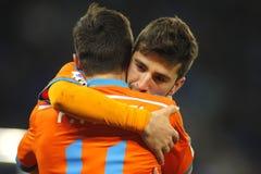 Jose Gaya embraces Pablo Piatti of Valencia CF Stock Photography