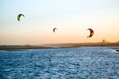 Free Jose Ignacio, Uruguay: Kiters On The Garzon Bay Royalty Free Stock Image - 90582646