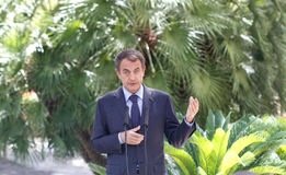 Jose luis Rodriguez Zapatero gestures during media comference in palma de mallorca Royalty Free Stock Images