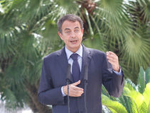 Jose luis Rodriguez Zapatero gestures during media comference in palma de mallorca Royalty Free Stock Photo