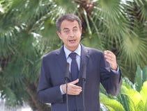 Jose Luis Rodriguez Zapatero gestykuluje podczas medialnego comference w palmie de Mallorca Zdjęcie Royalty Free