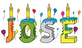 Jose male first name bitten colorful 3d lettering birthday cake with candles and balloons.  Stock Images