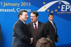 Jose Manuel Barroso e Nicos Anastasiades imagens de stock