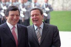 Jose Manuel Barroso, Gerhard Schroeder Stock Photos