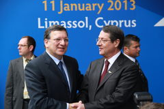 Jose Manuel Barroso and Nicos Anastasiades Stock Photos