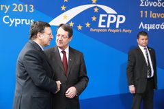 Jose Manuel Barroso and Nicos Anastasiades. President of the European Commission Jose Manuel Barroso and Nicos Anastasiades, Candidate for President of Cyprus in stock image
