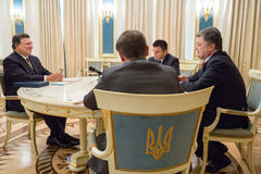 Jose Manuel Barroso and Petro Poroshenko. KIEV, UKRAINE - Sep 10, 2015: President of the European Commission in the years 2004-2014 Jose Manuel Barroso during a royalty free stock photo