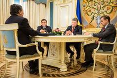 Jose Manuel Barroso and Petro Poroshenko. KIEV, UKRAINE - Sep 10, 2015: President of the European Commission in the years 2004-2014 Jose Manuel Barroso during a stock images