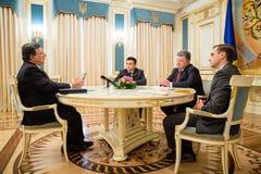 Jose Manuel Barroso and Petro Poroshenko. KIEV, UKRAINE - Sep 10, 2015: President of the European Commission in the years 2004-2014 Jose Manuel Barroso during a stock photos