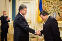 Jose Manuel Barroso and Petro Poroshenko. KIEV, UKRAINE - Sep 10, 2015: President of Ukraine Petro Poroshenko presented to the President of the European royalty free stock photo
