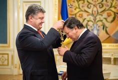 Jose Manuel Barroso y Petro Poroshenko Foto de archivo