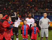 Jose Manuel Reina and Ryan Babel. Playing on Ghencea Football Stadium; Steaua - Liverpool match; Europa League Royalty Free Stock Images