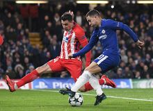 Jose Maria Gimenez and Eden Hazard. Football players pictured during the UEFA Champions League Group C game between Chelsea FC and Atletico Madrid on December 5 Stock Image