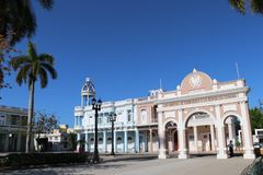 Jose Marti Park in Cienfuegos with famous triumphal arch, Cuba stock images