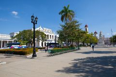 Jose Marti park główny plac Cienfuegos, Kuba Zdjęcie Stock
