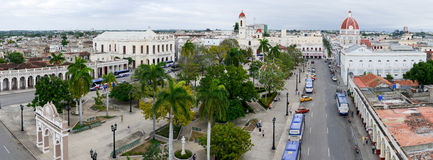 Jose Marti park with Town Hall and Cathedral of Cienfuegos Stock Photo