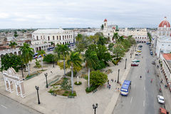 Jose Marti park with Town Hall and Cathedral of Cienfuegos Stock Photos