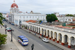 Jose Marti park with Town Hall and Cathedral of Cienfuegos Royalty Free Stock Photos
