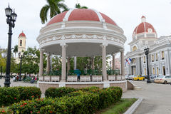 Jose Marti park with Town Hall and Cathedral of Cienfuegos Royalty Free Stock Images