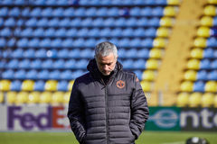 Jose Mourinho, coach of `Manchester United` on during training session. Jose Mourinho, coach of `Manchester United` on the pitch before the match 1/8 finals of Stock Photos