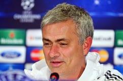 Jose Mourinho durante rueda de prensa de la liga de la UEFA Cheampions Fotografía de archivo