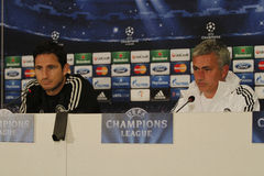 Jose Mourinho and Frank Lampard. Jose Mourinho, manager of Chelsea London, and Frank Lampard, player of Chelsea London pictured during press conference held Royalty Free Stock Photos