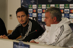 Jose Mourinho and Frank Lampard. Jose Mourinho, manager of Chelsea London, and Frank Lampard, player of Chelsea London pictured during press conference held Royalty Free Stock Photography