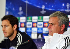 Jose Mourinho and Frank Lampard during UEFA Cheampions League press conference. Chelsea's portuguese manager Jose Mourinho pictured near his player Frank Lampard Stock Photos