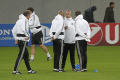 Jose Mourinho and his staff. Jose Mourinho, manager of Chelsea London and his staff at the official training before the Uefa Champions League match against Stock Photo