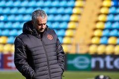 Jose Mourinho lagledare av `-Manchester United` på under utbildningsperiod arkivfoto