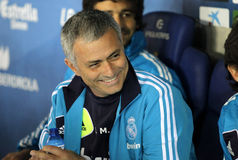 Jose Mourinho of Real Madrid. During the Spanish League match between Espanyol and Real Madrid at the Estadi Cornella on May 11, 2013 in Barcelona, Spain Stock Image