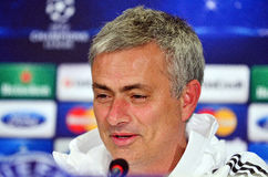 Jose Mourinho during UEFA Cheampions League press conference. Chelsea's portuguese manager Jose Mourinho pictured during the official press conference held with Stock Photography