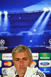 Jose Mourinho during UEFA Cheampions League press conference. Chelsea's portuguese manager Jose Mourinho reacts during the official press conference held with Stock Images