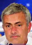 Jose Mourinho during UEFA Cheampions League press conference. Chelsea's portuguese manager Jose Mourinho reacts during the official press conference held with Royalty Free Stock Photos