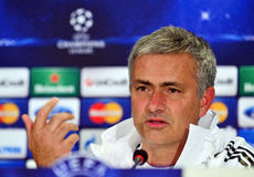 Jose Mourinho during UEFA Cheampions League press conference Stock Photography