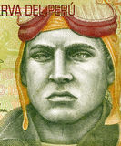 Jose Quinones Gonzales. (1914-1941) on 10 Nuevos Soles 2009 Banknote from Peru. Peruvian military aviator and national aviation hero Stock Photography