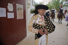 Joselito Adame waiting for the exit in the alley from the bullring of Jaen Royalty Free Stock Photography