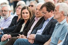 Josep Borrel, candidate for PSOE in the European elections, seated with other local leaders during the rally in Caceres. royalty free stock photo