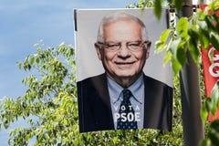 Josep borrell som annonserar för det Europa valet 2019 royaltyfria foton