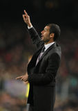 Josep Guardiola. BARCELONA, SPAIN : Barcelona's coach Josep Guardiola reacts during the match between FC Barcelona and Athletic Bilbao in Nou Camp Stadium in Stock Photos