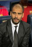 Josep Guardiola of Barcelona. Josep Guardiola  of Barcelona during spanish league match between FC Barcelona and Sporting Gijon at Nou Camp Stadium in Barcelona Stock Photo