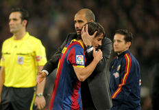 Josep Guardiola & Bojan of Barcelona Stock Photography