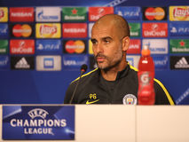 "Josep Guardiola, manager of Manchester City. Josep ""Pep"" Guardiola i Sala manager of Manchester City, pictured during press conference held before royalty free stock photo"