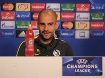 Josep Guardiola, manager van de Stad van Manchester stock foto's