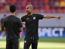 """Josep Guardiola during training session. Josep """"Pep"""" Guardiola i Sala manager of Manchester City, pictured during the official training before the Uefa Royalty Free Stock Image"""