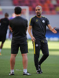 """Josep Guardiola during training session. Josep """"Pep"""" Guardiola i Sala manager of Manchester City, pictured during the official training before the Uefa Royalty Free Stock Photos"""