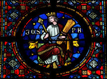 Joseph. Stained glass window depicting Joseph, one the Hebrew patriarchs,in the Notre Dame church of Dinant, Belgium Stock Photos