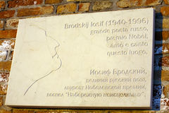 Joseph Brodsky memorial plate in Venice Stock Images