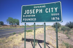 Joseph City. A sign that reads Joseph City on side of the road Royalty Free Stock Photos