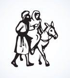 Joseph en Mary gaan naar Bethlehem Vector tekening royalty-vrije illustratie